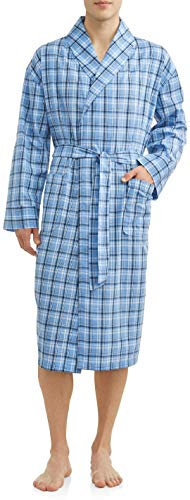 Hanes Men's Lightweight Woven Broadcloth Robe (X-Large/XX-Large, LT Blue Plaid) -