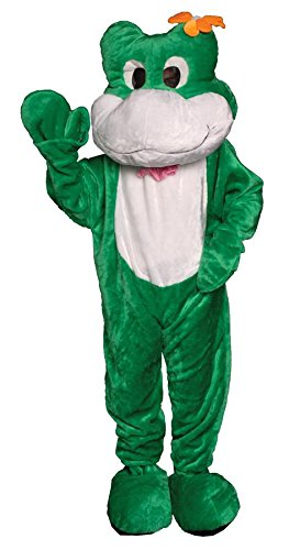 Toad Costumes For Adults (Deluxe Plush Green Frog Mascot Adult Halloween Costume)