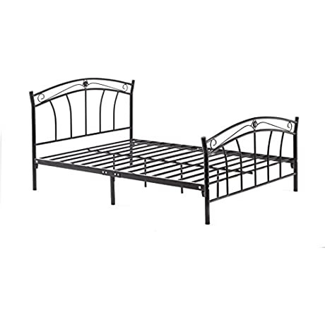 Hodedah Complete Metal Twin Size Bed With Headboard Footboard Slats And Rails In Black