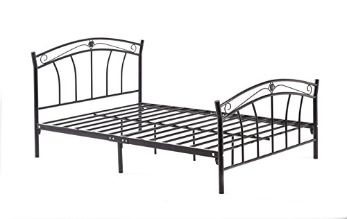 Hodedah Complete Metal Twin-Size Bed with Headboard, Footboard, Slats and Rails in Black