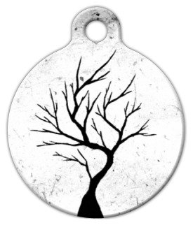 Silhouette Tree - Custom Pet ID Tag for Dogs and Cats - Dog Tag Art - SMALL SIZE