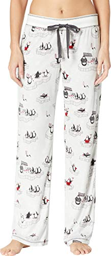 PJ Salvage Women's Sleepwear Pajama Pant White Band, V.I.P. Silver Medium
