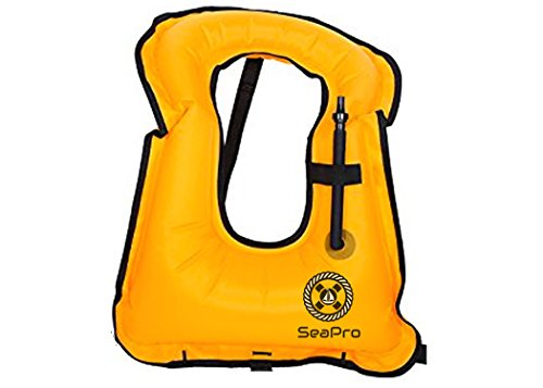 Inflatable Snorkel Vest | Scuba Diving Vest | Canvas Life Jacket | Scuba Safety Vest | Adult Aquatics Life Jacket - Swimming Boating Snorkeling and Diving Outdoor Essentials (Orange)