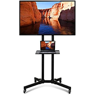 Yaheetech Universal Floor Stand Wheels for inch inch Samsung LG Panasonic Sony Bravia Toshiba Flat Screen Mobile Trolley Stand with Brackets Tall Floor Stand  Height Adjustable