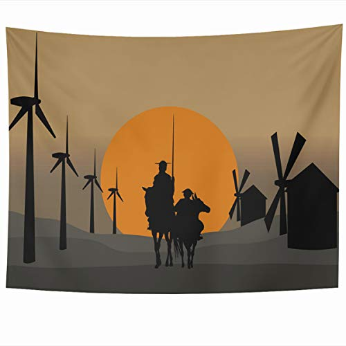 Ahawoso Tapestry Wall Hanging 80x60 Inches Horizonts Toledo Don Quixote De La Mancha Energy Spain Cervantes Sancho Ancient Andante Caballero Home Decor Tapestries Art for Living Room Bedroom Dorm