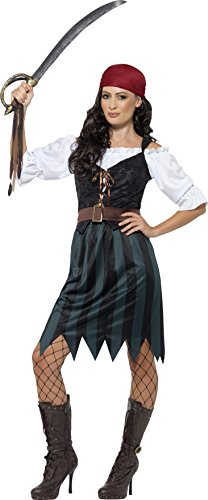 Easy Halloween Costumes 2016 (Smiffy's Women's Pirate Deckhand Costume,  Shirt, Mock Waistcoat, Skirt, Belt & Bandana, Pirate, Serious Fun, Size 10-12, 45491)