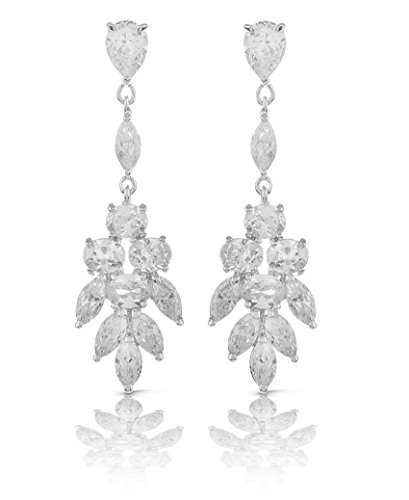 JanKuo Jewelry Rhodium Plated Red Carpet Long Chandelier Cubic Zirconia Earrings