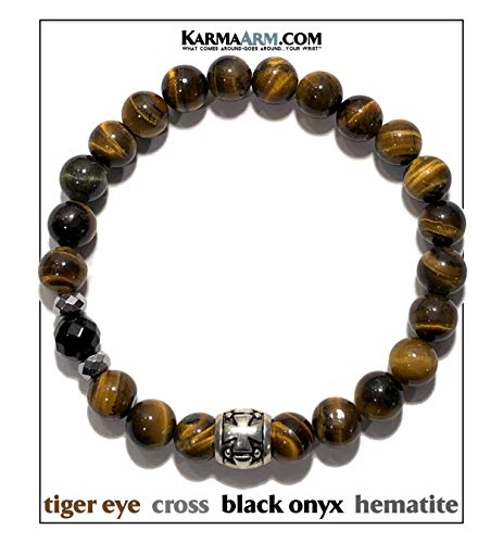 KarmaArm Spiritual Bracelet | Determination : Tiger Eye | Onyx | Hematite | Cross Reiki Boho Yoga Beaded Meditation Stretch Mens Chakra Jewelry (7)