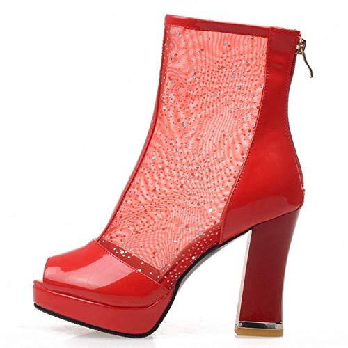 Caviglia Moda Stivali Melady Tacchi Donne Rosso Blocco Cerniera Estivi Alta gpwUYgxq