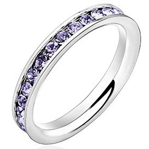 Women 3mm White Gold Stainless Steel Channel Set Purple CZ Inlay Ring Engagement Wedding Silver Band (Set Channel Purple)