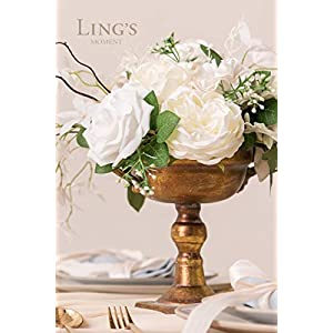Ling's moment Artificial Flowers Combo Realistic Fake Roses with Stem for DIY Wedding Bouquets Centerpieces Floral Arrangements Decorations (Pearly White) 3