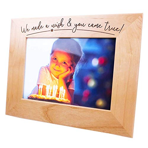 We Made A Wish & You Came True!-Wood Engraved,Birthday Picture Frame,Christmas Picture Frame,Baby Picture Frame,Pregnant Mom, School Photo Frame,New Parent Gift(5x7 Horizontal)