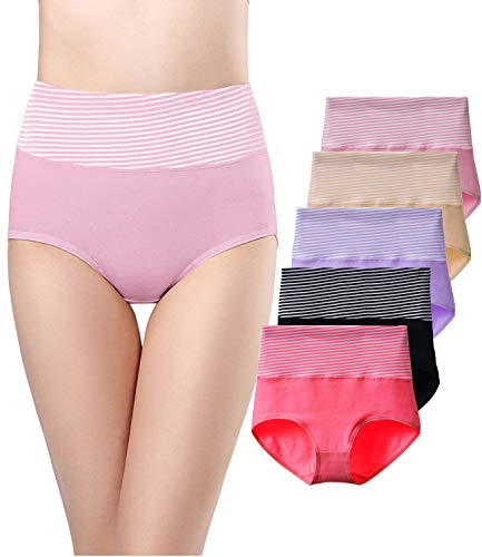 - SEXYWG 5 Pack Womens Cotton Underwear Tummy Control Brief Full Coverage High Waist Panties