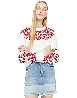 Mango Women's Embroidered Cotton Sweatshirt