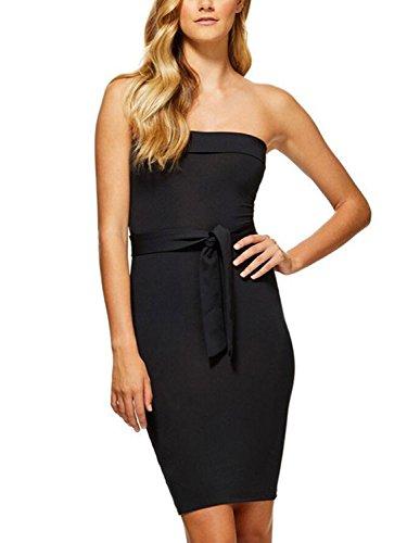 Simplee Apparel Women 's Party Clubwear vestido sin tirantes de hombro lápiz bodycon MIDI Negro