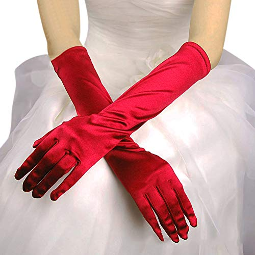 Flower Girl Gloves Long Elbow Length Formal Pageant Satin Gloves with Pearl Bow knot for Wedding Dress Evening Party Pageant