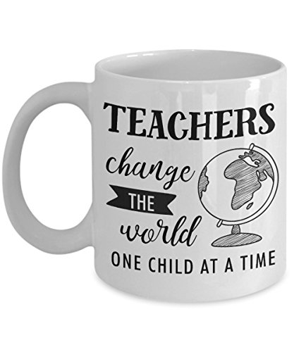 Teachers Change The World One Child At A Time Mug, 11 oz Ceramic White Coffee Mugs, Inspirational Cups For Teacher, Best Gift For Teacher's Day, Funny Present From Students, Nice Tutor Halloween Drink ()
