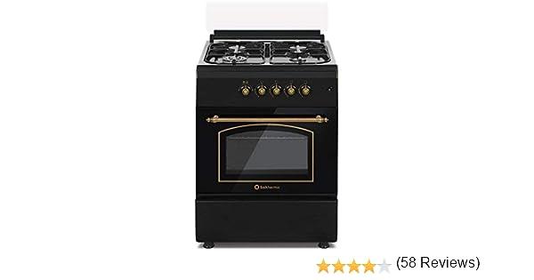 Cocina SolThermic F6S40G2I de Color Negro Rústico compuesta por 4 Quemadores y Horno Incorporado - ENTREGA A PIÉ DE CALLE: Amazon.es: Hogar