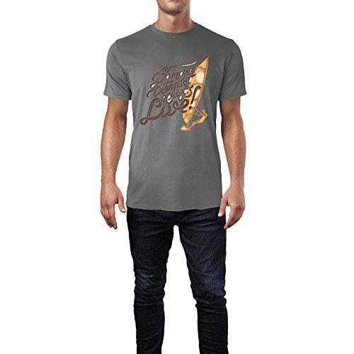 SINUS ART® Do More Then Just Live! Mit Windsurfer Herren T-Shirts in Grau Charocoal Fun Shirt mit tollen Aufdruck