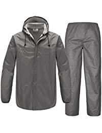 SWISSWELL Mens Rain Suit Waterproof Lightweight Fishing Rain Gear (Grey Rain Jacket, Large)