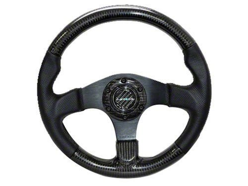 (NRG Innovations ST-310CFBS Carbon Fiber Steering Wheel with Black Stitching (315mm))