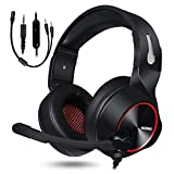 NUBWO Gaming Headset,Headphones with Noise Cancelling Microphone for Xbox One,PS4,Computer, Laptop (Red)