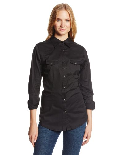 Wrangler Women's Western Yoke Two Snap Flap Pocket Shirt, Black, (Flap Pocket Shirt)