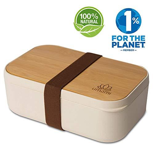 UMAMI® Brotdose EcoloChic™ Natur & Bambus | Bento Lunchbox Bambusfaser | 1000 ml | 4-teiliges Besteck | BPA-frei | Erwachsene & Kinder | Spülmaschinen- Und Mikrowellenfest | Zero Waste | Meal Prep