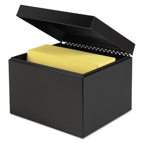 STEELMASTER Steel Card File Box, Fits 6 x 9 Index Cards, 900 Card Capacity, 9.5 x 7 x 8.5 Inches, Black (263869BLA)