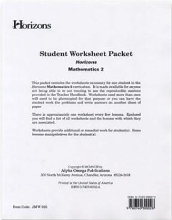 Amazon.com: Alpha Omega Publications JMW025 Student worksheet ...