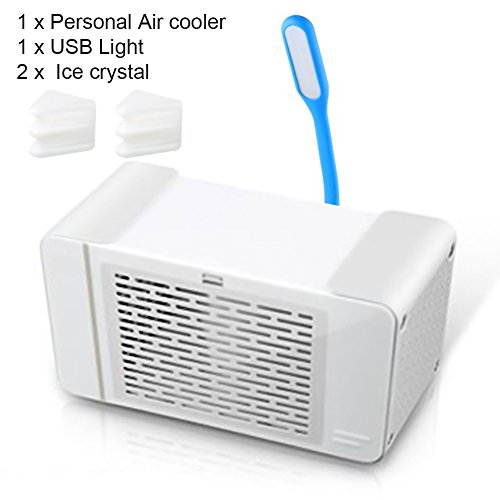 Yvonne Mini Air Cooler, Personal Space Air Cooler, Ice Crystal Cooling, USB Powered Personal Air Cooler with LED Light, Humidifier and Purifier, Desktop Air Conditioner Fan for Home Office(White) by Yvonne