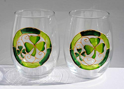 Lucky Green Shamrocks Hand Painted Stemless 20 oz Wine Glasses (Set of 2)