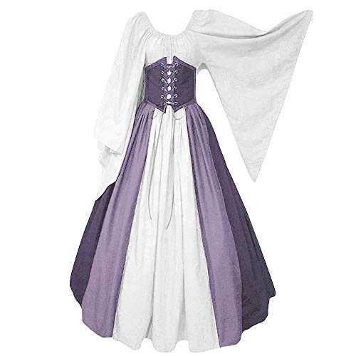 Abaowedding Women's Renaissance Medieval Costumes Dress Trumpet Sleeves Gothic Retro Gown (Medium, Purple)