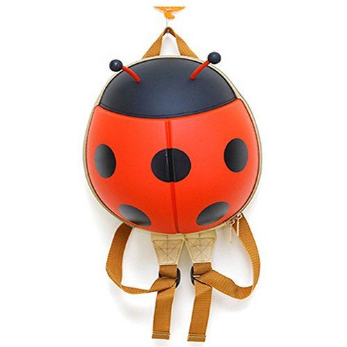 Kids Backpack Children Toddler Pre School Bag with Free Drawstring 3D Ladybug Hard Shell with Multi Colors