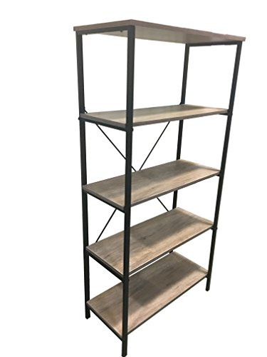 Sleekform 5-Shelf Bookcase - With Two Adjustable Shelves - Distressed Rustic Sand Paint Finish - Antique Look - Iron Frame - Home Furnishing Shelving Unit 5-Tier Bookshelf 31.5 L x 15 W x 64 H Inch - Custom Frame Metal Ladder
