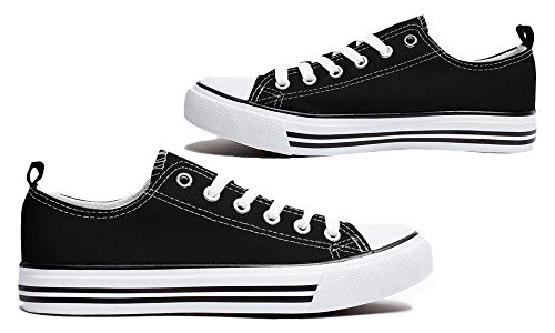 (Shop Pretty Girl Women's Casual Canvas Shoes Solid Colors Low Top Lace up Flat Fashion Sneakers (8, Black and White))