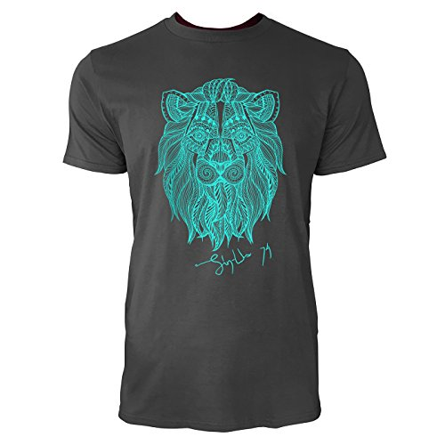 SINUS ART ® Löwenkopf mit Ethno Ornamenten Herren T-Shirts in Smoke Fun Shirt mit tollen Aufdruck