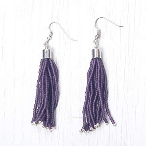 (Matte Purple with accent of Galvanised Silver Handmade Seed Beaded Tassel Earring with Rhodium Plated Brass Findings,E8)