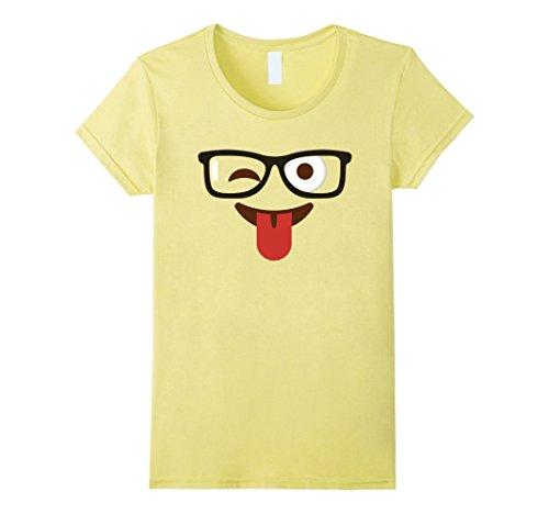 Womens Emoji T-Shirt Halloween Costume Nerd Glasses Emoji Smile Tee Small Lemon (Tooth Related Halloween Costumes)