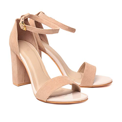 Klaur Melbourne Women Beige Block Heel 3.5 Inch Sandal ((EU-35/UK-2))