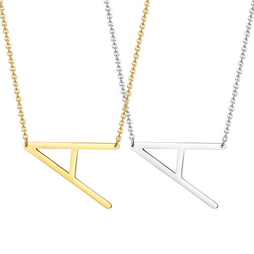 LOYALLOOK Big Letter Necklace Initial Chain Script Name Stainless Steel Pendant Necklace 2Pcs Silver-Tone and Gold-Tone Letter Pendant A-Z