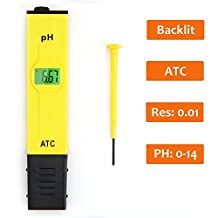 Dr.Health (TM) 0.01PH ATC Backlit High Accuracy Pocket Size pH Meter with ATC (Automatic Temperature Compensation) Backlit Light LCD 0-14 pH Measurement Range,0.01 Resolution Handheld pH Pen Tester