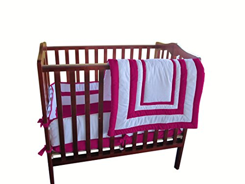 Baby Doll Bedding Modern Hotel StyleMini Crib/  Port-a-Crib Bedding, Hot Pink by BabyDoll Bedding