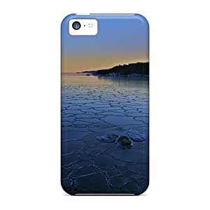 XqOH936 Tpu Case Skin Protector For Iphone 5c Crackled Iced On A Lake In The Morning With Nice Appearance