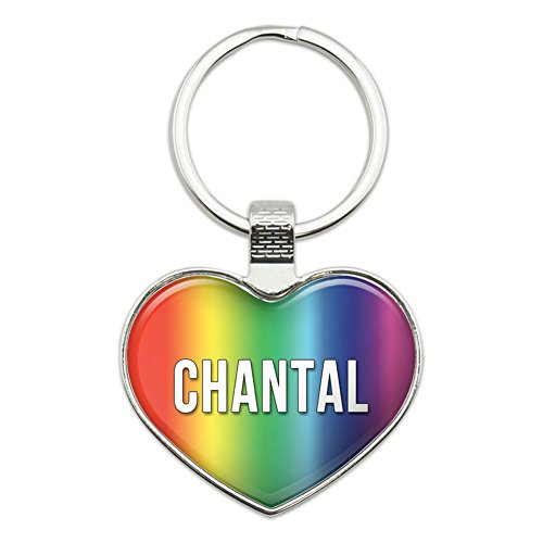- Graphics and More Metal Keychain Key Chain Ring Rainbow I Love Heart Names Female C Chan - Chantal