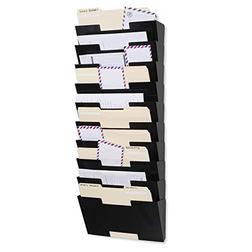 - Fasthomegoods Magazine Holder Rack Black Steel Material Wall Mount 10 Sectional Vertical File Organizer Modular Multiuse Display Also Good for Literature File and Magazine