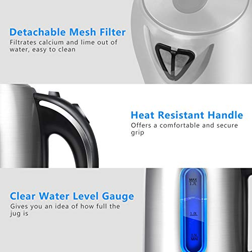 Aigostar Electric Kettle, 1.7L Tea Kettle with LED Illumination, Cordless Hot Water Kettle Pot for Tea Coffee Fast Boiling, Stainless Steel, BPA Free