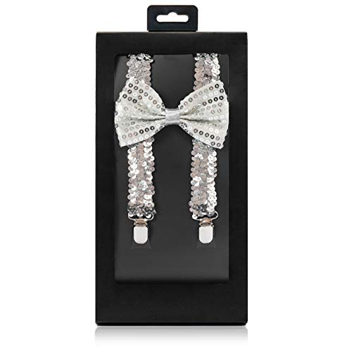 McWay Bowtie and Suspender Set For Men, Adults   Premium Quality   With Gift Box   Wide And Adjustable   Classy Design (Silver Sequined)