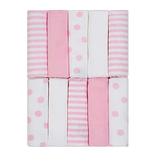 Just Born 10-Piece Terry Washcloth, Pink/White, One Size