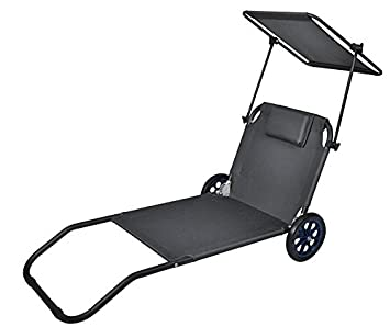 Tumbona de playa con ruedas y parasol, plegable, tumbona que puede usarse como carrito #2594, gris: Amazon.es: Jardín